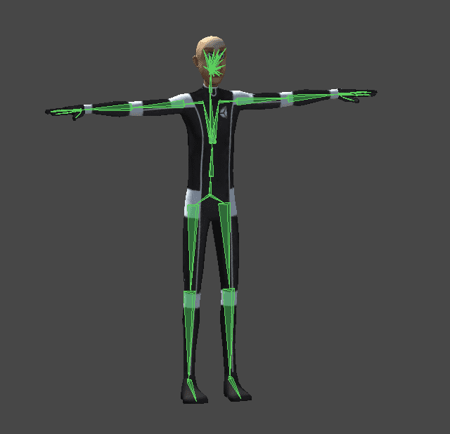Sort of side view of my avatar in T-pose with bone structure