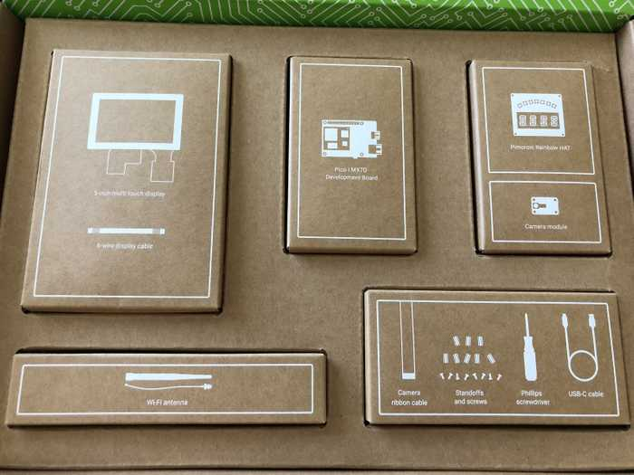 Perfectly nestled packaging in the Android Things Starter Kit