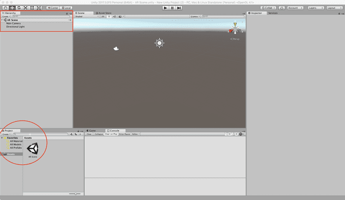 Unity Editor with Hierarchy marked in a red box and Project in a red circle