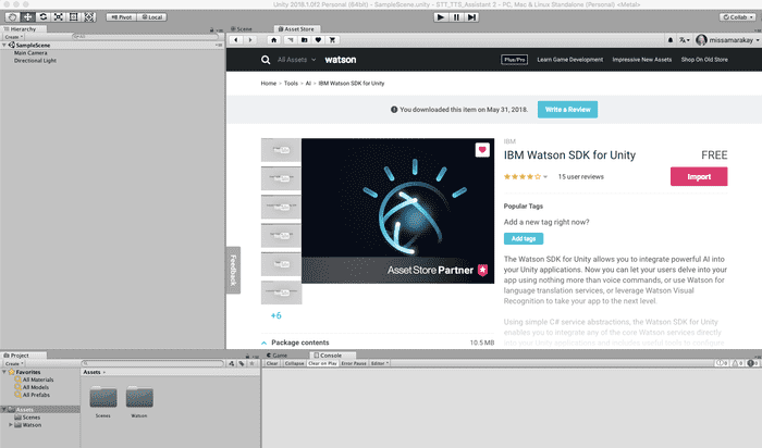 "Search for ""Watson"" and find the IBM Watson SDK For Unity"